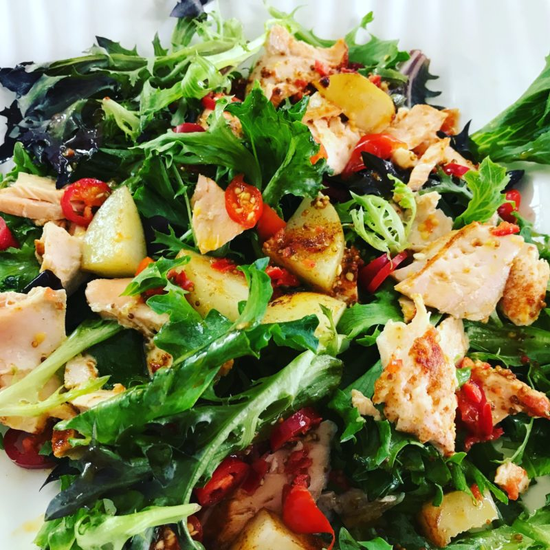 Warm Salmon Salad With Chilli Citrus Dressing